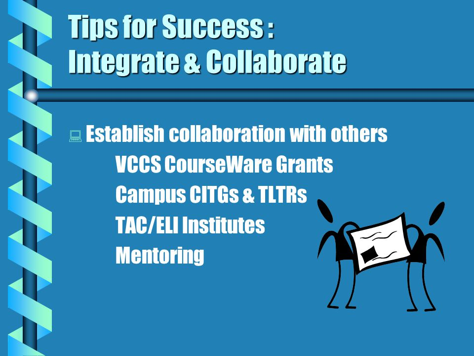 Tips for Success : Integrate & Collaborate   Recognize & explore differences in distance & traditional learning   Process issues   Resource issues   Communication issues