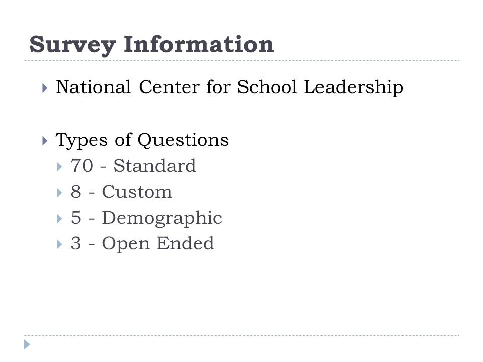 Survey Information  National Center for School Leadership  Types of Questions  70 - Standard  8 - Custom  5 - Demographic  3 - Open Ended