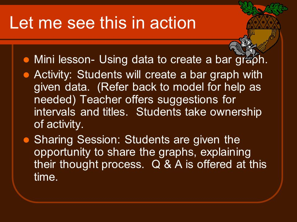 Let me see this in action Mini lesson- Using data to create a bar graph.