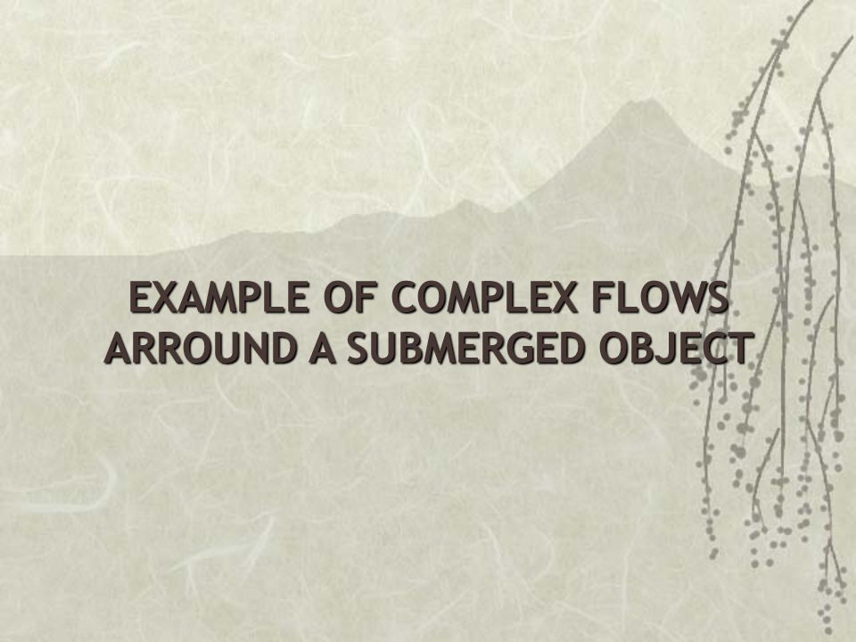 EXAMPLE OF COMPLEX FLOWS ARROUND A SUBMERGED OBJECT