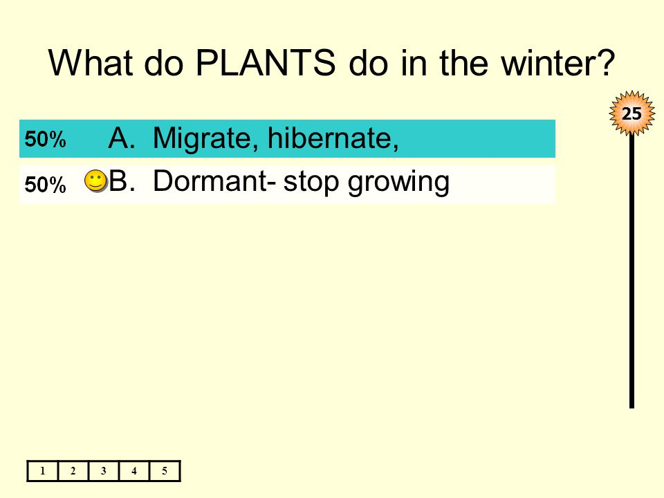 What do PLANTS do in the winter 12345 A.Migrate, hibernate, B.Dormant- stop growing 25