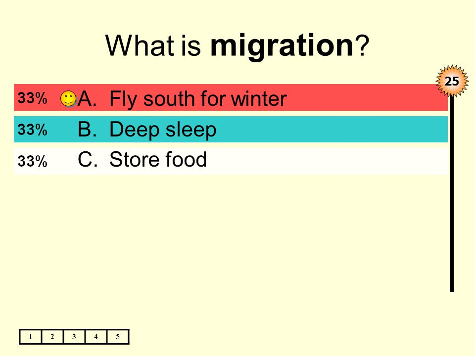 What is migration 12345 A.Fly south for winter B.Deep sleep C.Store food 25