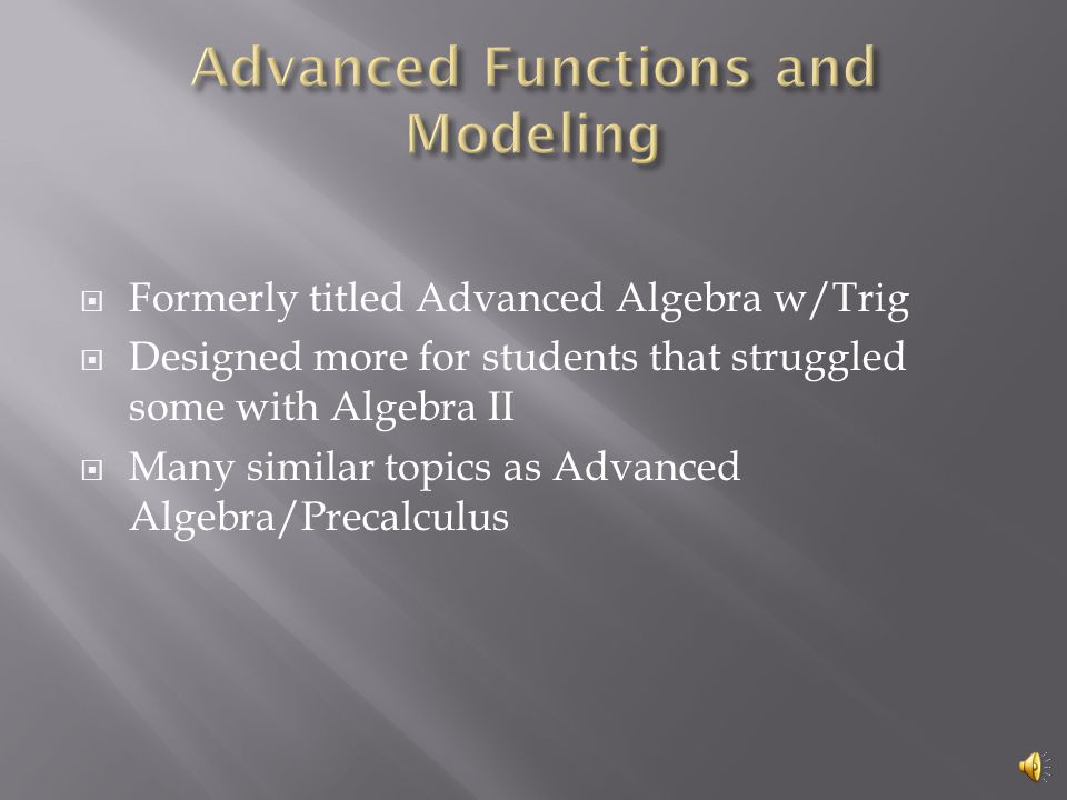 Analysis of Trigonometry Definitions of the trig functions Graphs Solving equations Solving triangles