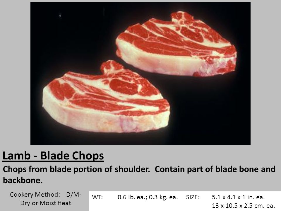 Lamb - Blade Chops Chops from blade portion of shoulder.