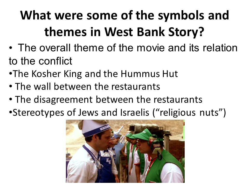 What were some of the symbols and themes in West Bank Story.