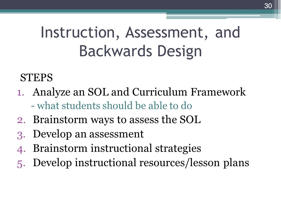 Instruction, Assessment, and Backwards Design STEPS 1.Analyze an SOL and Curriculum Framework - what students should be able to do 2.Brainstorm ways to assess the SOL 3.Develop an assessment 4.Brainstorm instructional strategies 5.Develop instructional resources/lesson plans 30