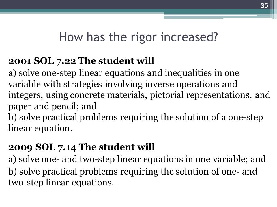 How has the rigor increased.