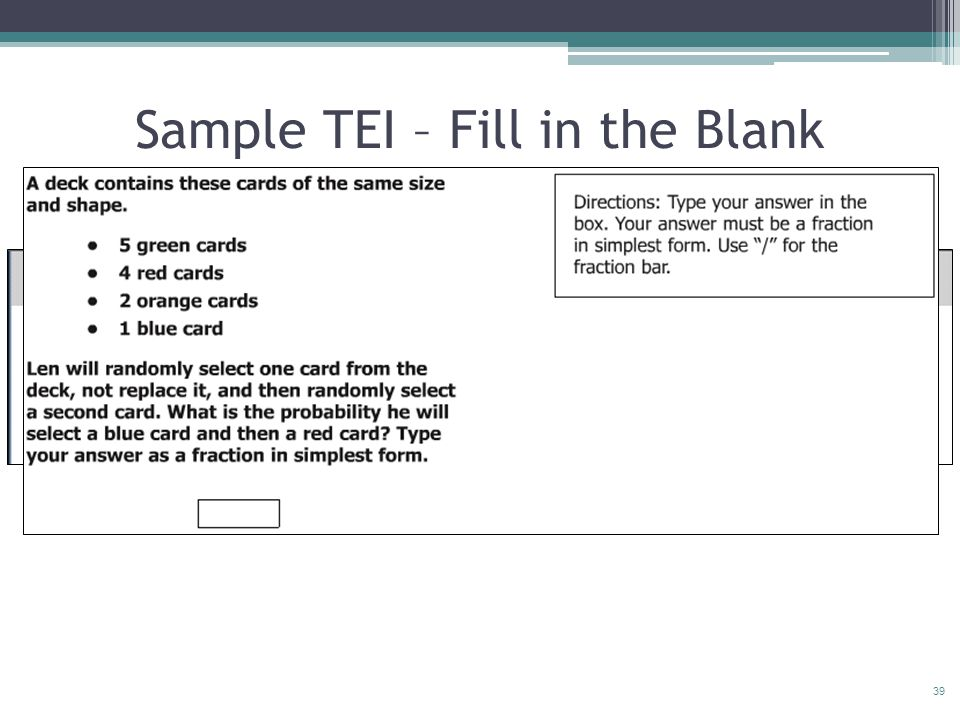 39 Sample TEI – Fill in the Blank