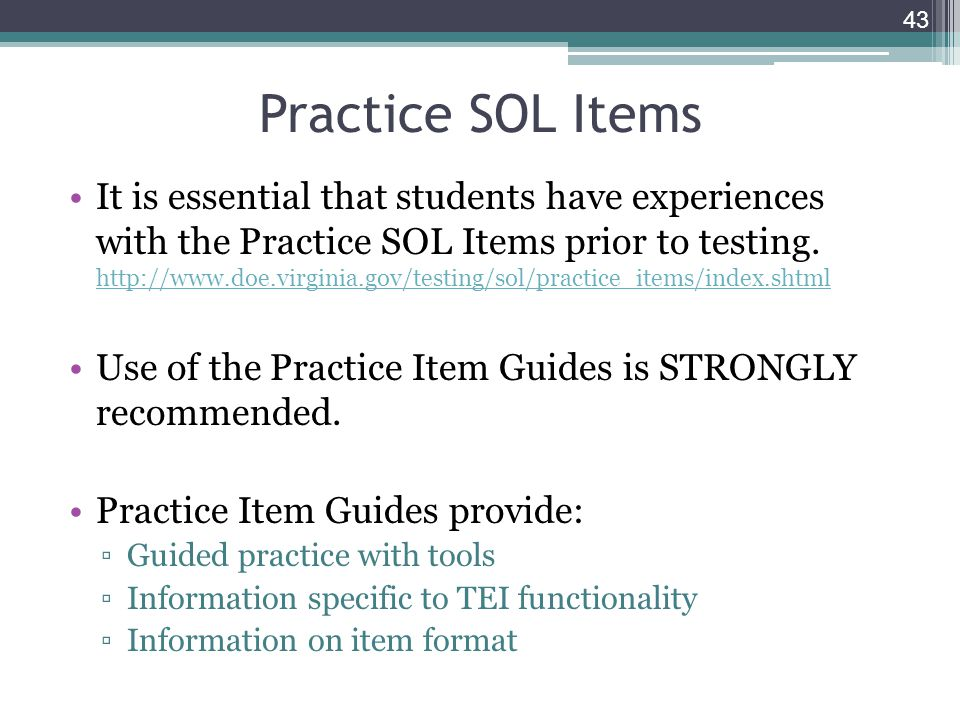 It is essential that students have experiences with the Practice SOL Items prior to testing.