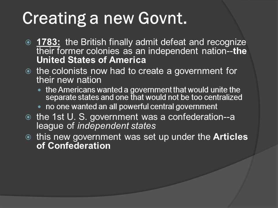 Creating a new Govnt.