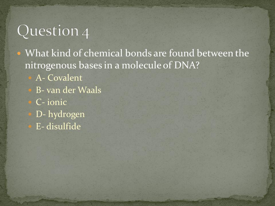 What kind of chemical bonds are found between the nitrogenous bases in a molecule of DNA.