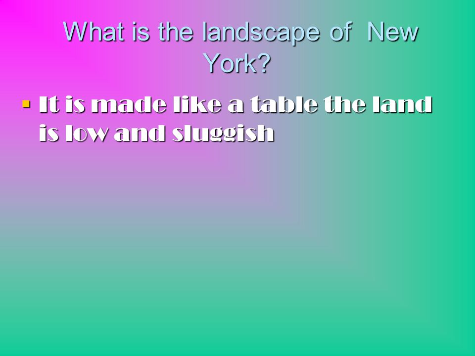 What is the landscape of New York. What is the landscape of New York.