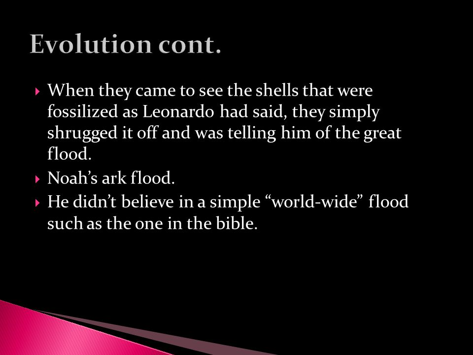  When they came to see the shells that were fossilized as Leonardo had said, they simply shrugged it off and was telling him of the great flood.