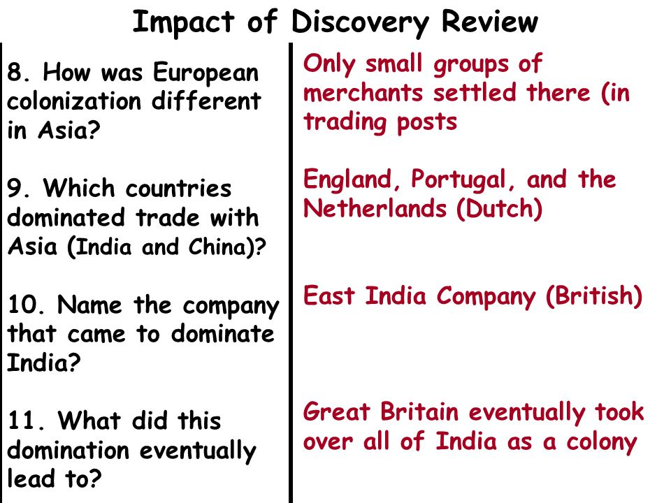 8. How was European colonization different in Asia.