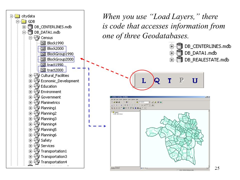 25 When you use Load Layers, there is code that accesses information from one of three Geodatabases.