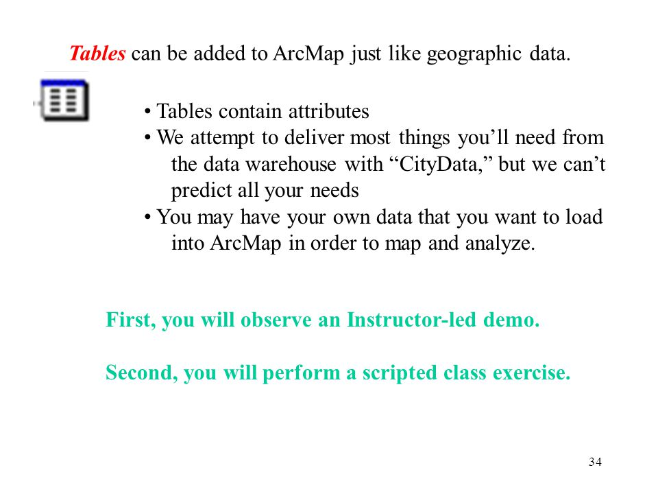 34 Tables can be added to ArcMap just like geographic data.