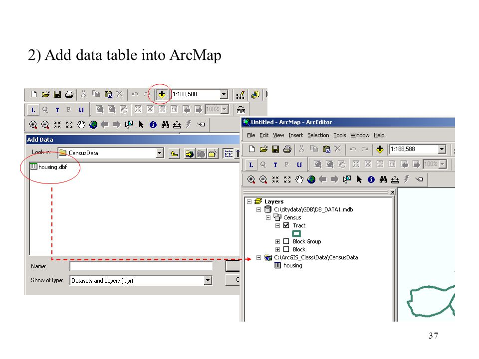 37 2) Add data table into ArcMap
