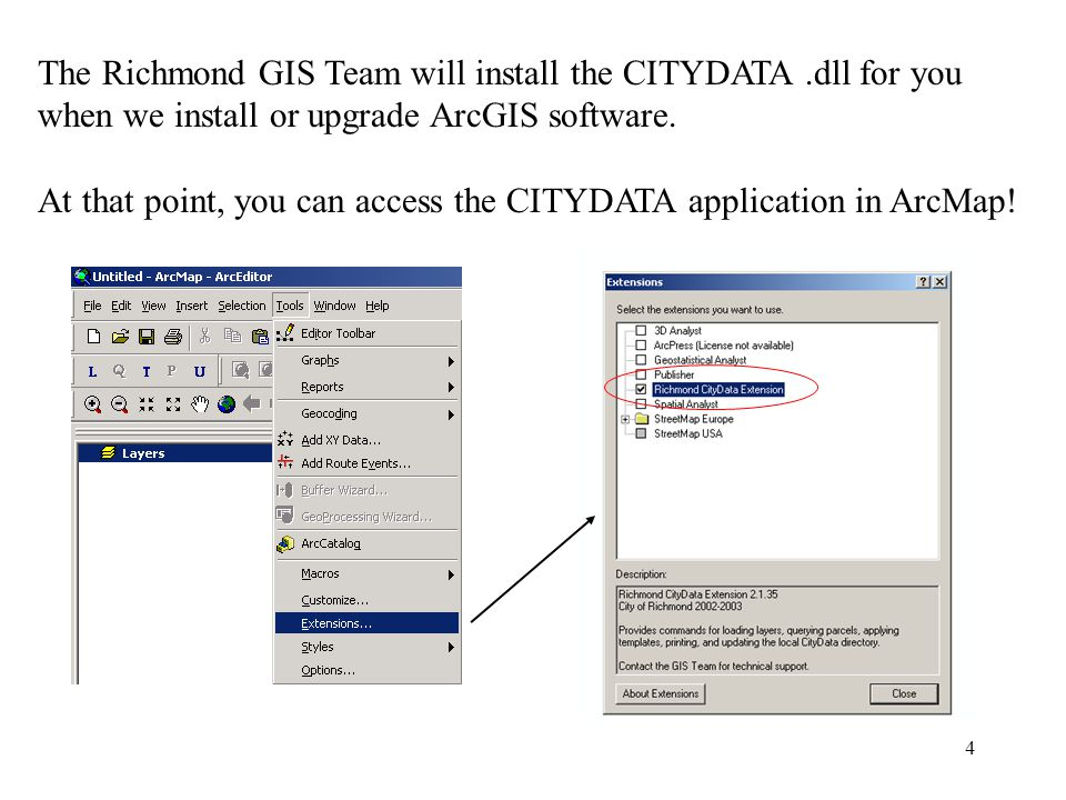4 The Richmond GIS Team will install the CITYDATA.dll for you when we install or upgrade ArcGIS software.