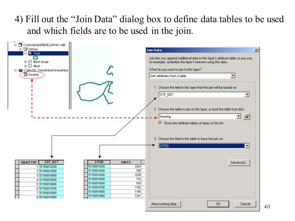 40 4) Fill out the Join Data dialog box to define data tables to be used and which fields are to be used in the join.