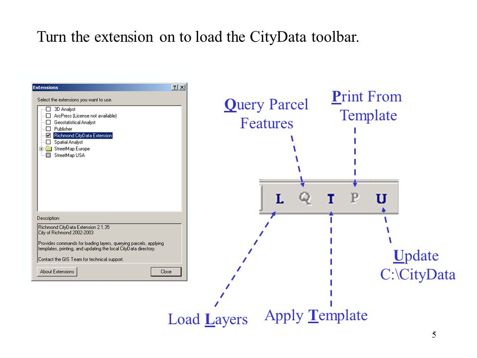 5 Turn the extension on to load the CityData toolbar.