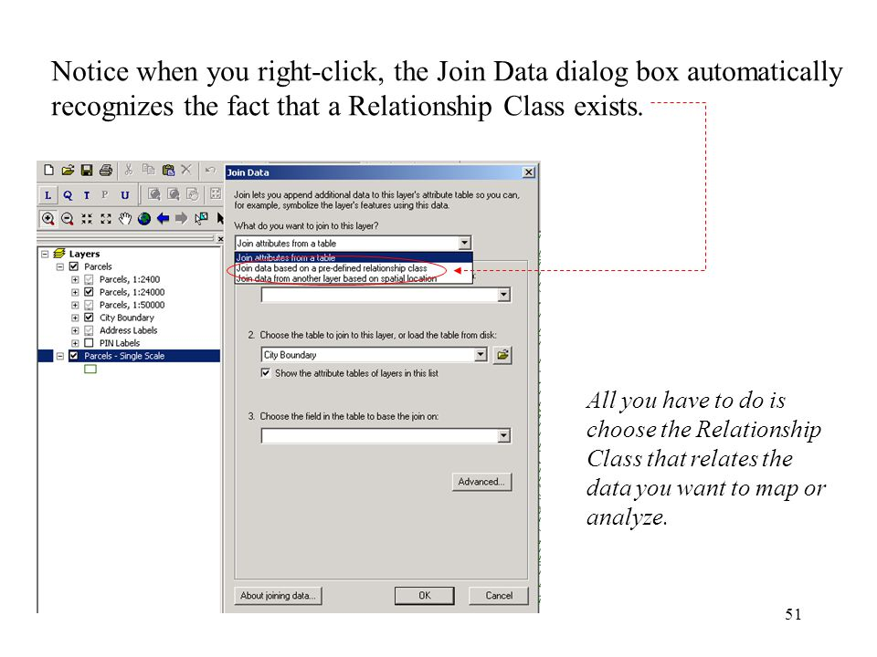 51 Notice when you right-click, the Join Data dialog box automatically recognizes the fact that a Relationship Class exists.