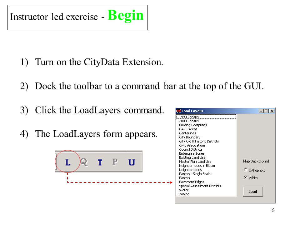 6 Instructor led exercise - Begin 1)Turn on the CityData Extension.
