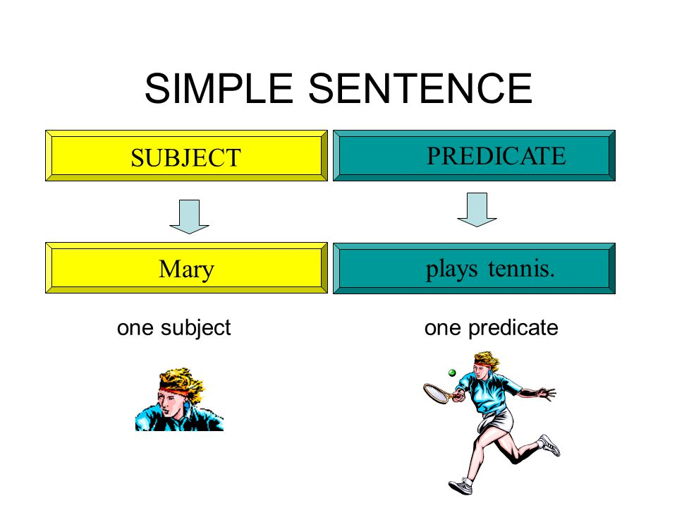 SIMPLE SENTENCE Mary plays tennis. SUBJECT PREDICATE one subject one predicate