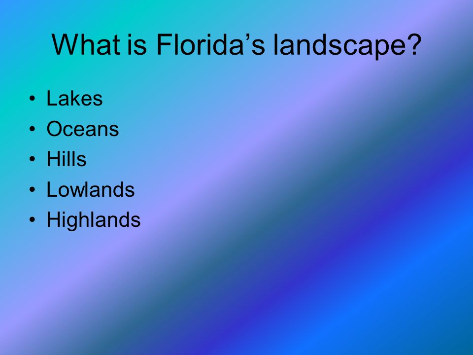 What is Florida's landscape Lakes Oceans Hills Lowlands Highlands