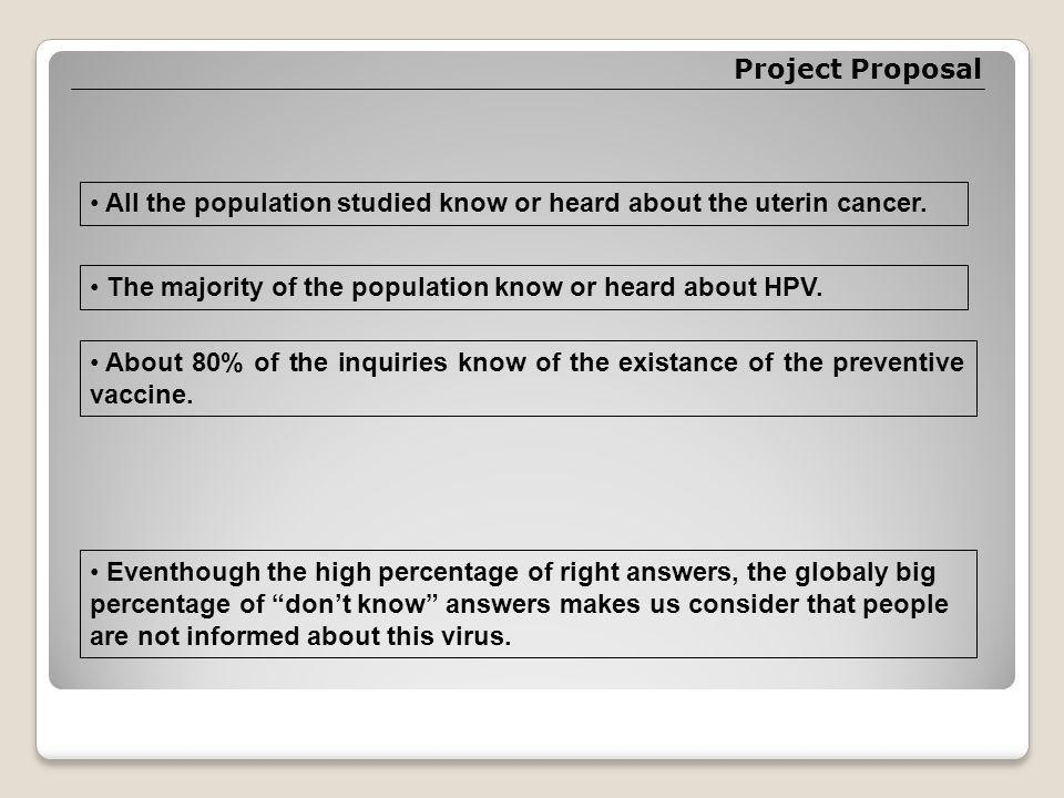 Project Proposal All the population studied know or heard about the uterin cancer.