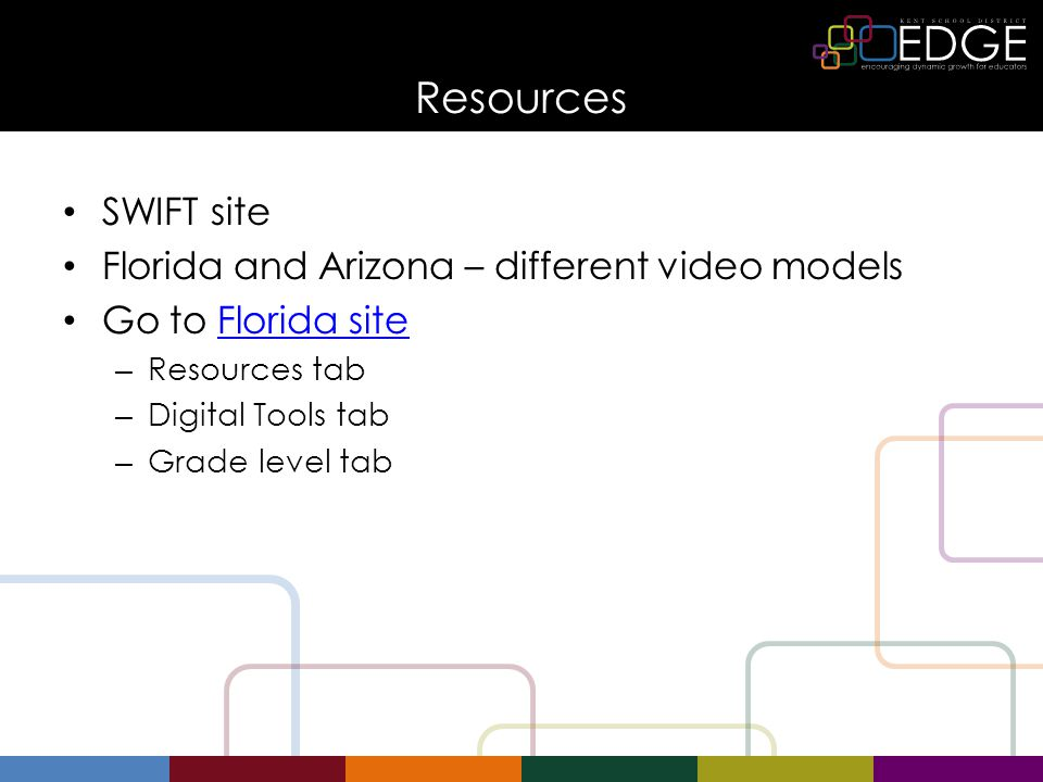 Resources SWIFT site Florida and Arizona – different video models Go to Florida siteFlorida site – Resources tab – Digital Tools tab – Grade level tab
