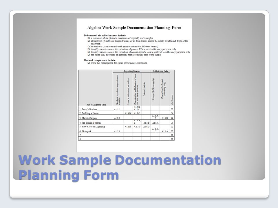 Work Sample Documentation Planning Form
