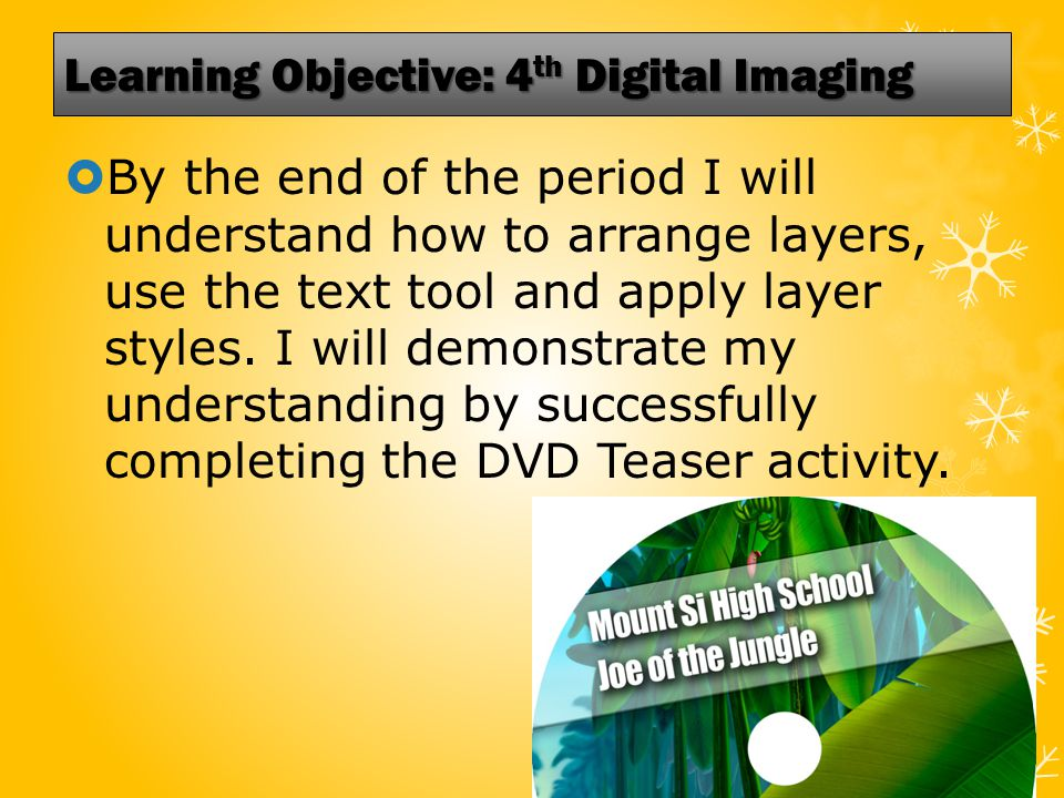 Learning Objective: 4 th Digital Imaging  By the end of the period I will understand how to arrange layers, use the text tool and apply layer styles.