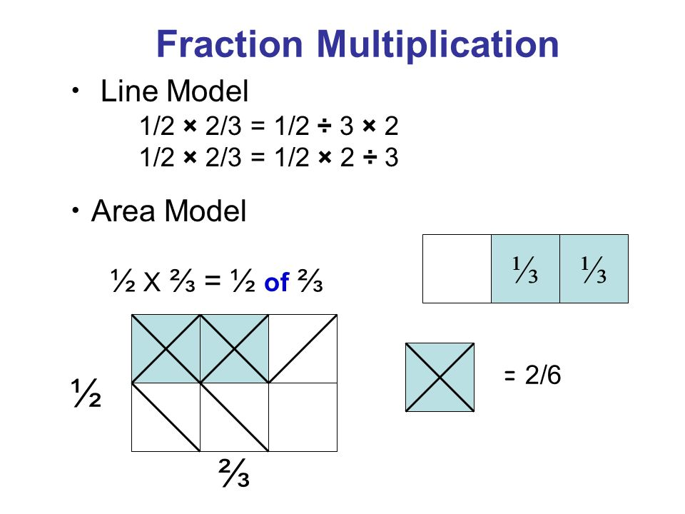 ⅓⅓ ½ ⅔ = 2/6 Line Model 1/2 × 2/3 = 1/2 ÷ 3 × 2 1/2 × 2/3 = 1/2 × 2 ÷ 3 Fraction Multiplication Area Model