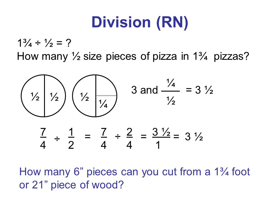 Division (RN) 1¾ ÷ ½ = . How many ½ size pieces of pizza in 1¾ pizzas.