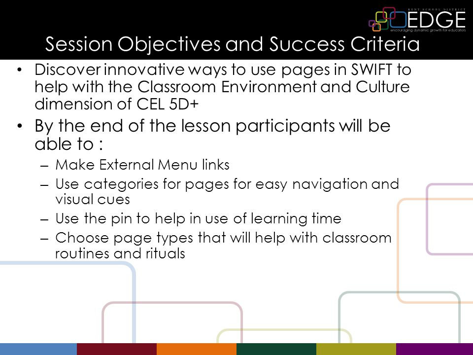Session Objectives and Success Criteria Discover innovative ways to use pages in SWIFT to help with the Classroom Environment and Culture dimension of CEL 5D+ By the end of the lesson participants will be able to : – Make External Menu links – Use categories for pages for easy navigation and visual cues – Use the pin to help in use of learning time – Choose page types that will help with classroom routines and rituals