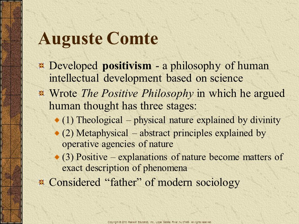 Auguste Comte Developed positivism - a philosophy of human intellectual development based on science Wrote The Positive Philosophy in which he argued human thought has three stages: (1) Theological – physical nature explained by divinity (2) Metaphysical – abstract principles explained by operative agencies of nature (3) Positive – explanations of nature become matters of exact description of phenomena Considered father of modern sociology Copyright © 2010 Pearson Education, Inc., Upper Saddle River, NJ 07458.