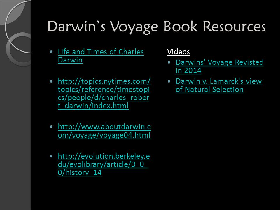 Darwin's Voyage Book Resources Life and Times of Charles Darwin Life and Times of Charles Darwin http://topics.nytimes.com/ topics/reference/timestopi cs/people/d/charles_rober t_darwin/index.html http://topics.nytimes.com/ topics/reference/timestopi cs/people/d/charles_rober t_darwin/index.html http://www.aboutdarwin.c om/voyage/voyage04.html http://www.aboutdarwin.c om/voyage/voyage04.html http://evolution.berkeley.e du/evolibrary/article/0_0_ 0/history_14 http://evolution.berkeley.e du/evolibrary/article/0_0_ 0/history_14 Videos Darwins Voyage Revisted in 2014 Darwins Voyage Revisted in 2014 Darwin v.