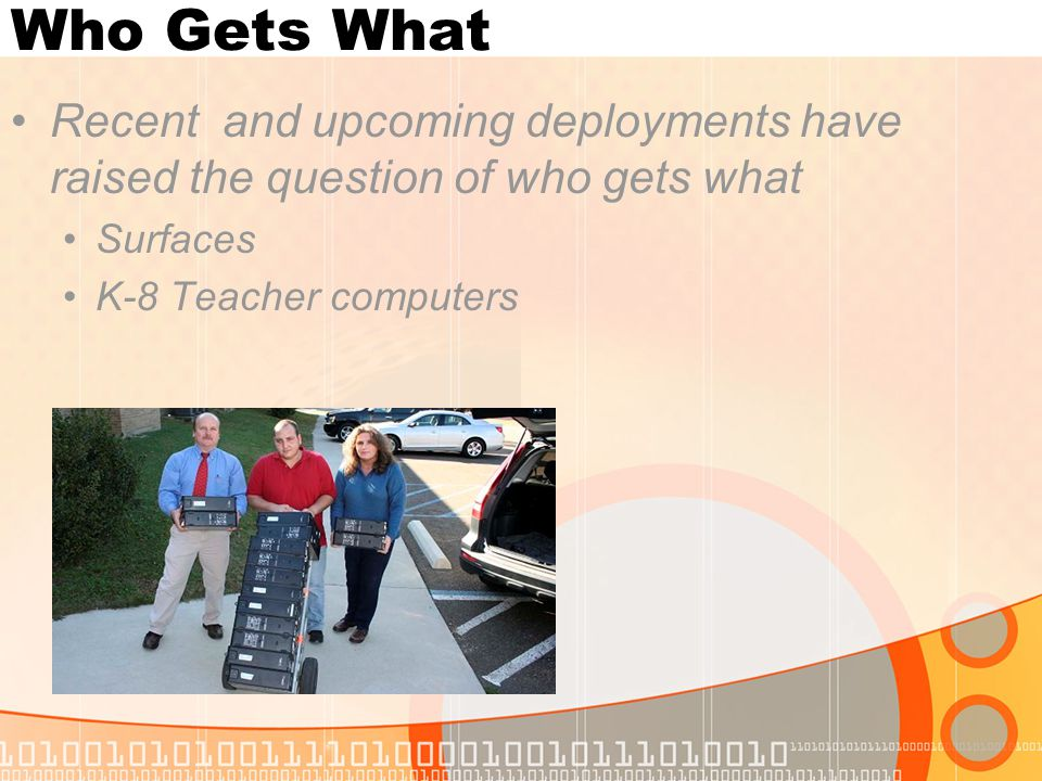 Who Gets What Recent and upcoming deployments have raised the question of who gets what Surfaces K-8 Teacher computers