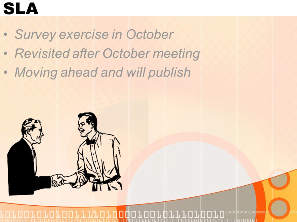 SLA Survey exercise in October Revisited after October meeting Moving ahead and will publish