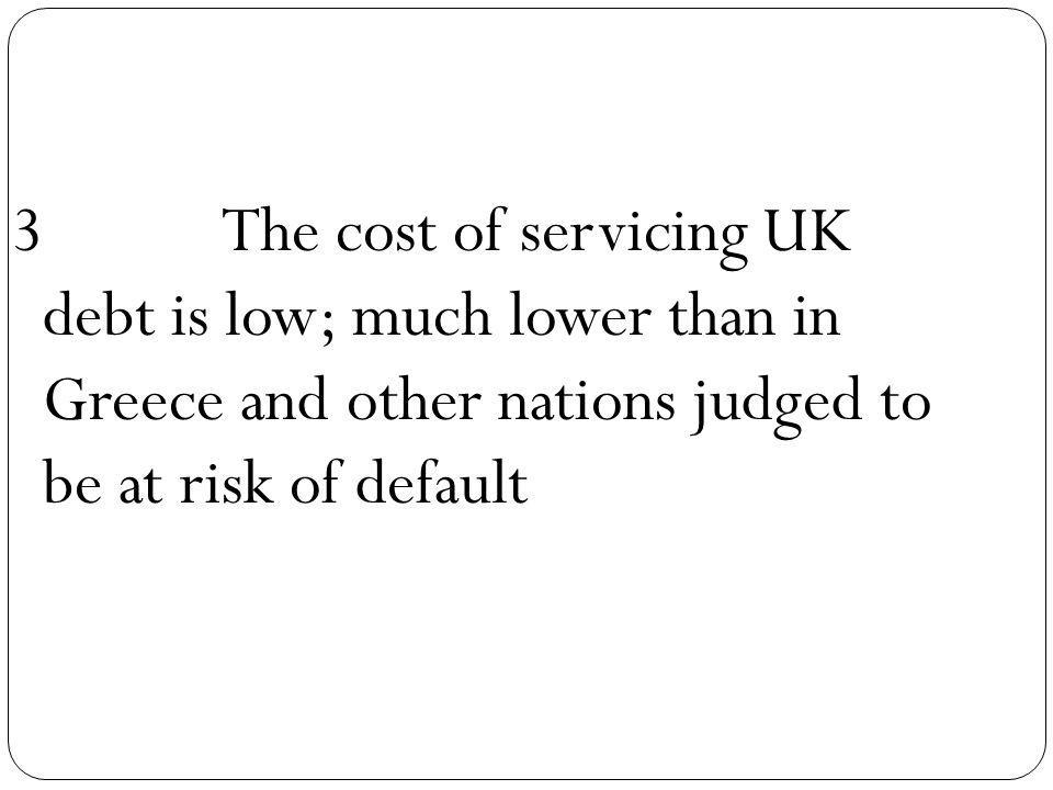 3The cost of servicing UK debt is low; much lower than in Greece and other nations judged to be at risk of default