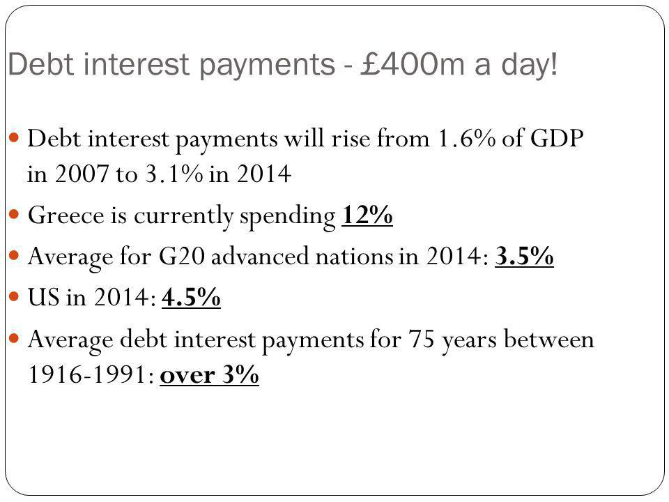 Debt interest payments - £400m a day.