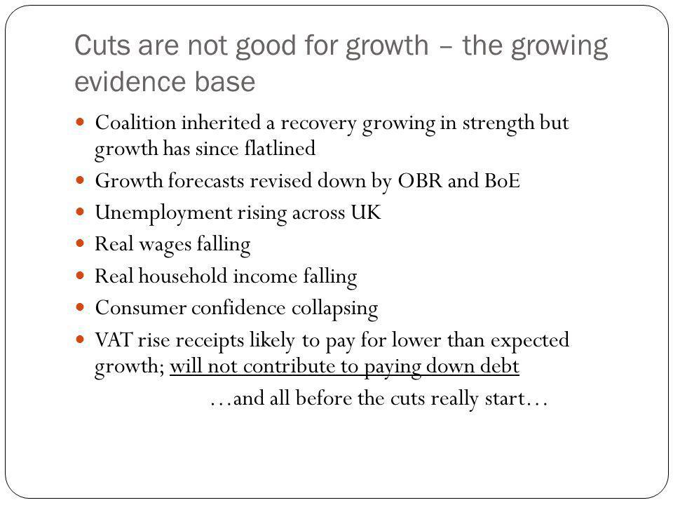 Cuts are not good for growth – the growing evidence base Coalition inherited a recovery growing in strength but growth has since flatlined Growth forecasts revised down by OBR and BoE Unemployment rising across UK Real wages falling Real household income falling Consumer confidence collapsing VAT rise receipts likely to pay for lower than expected growth; will not contribute to paying down debt …and all before the cuts really start…