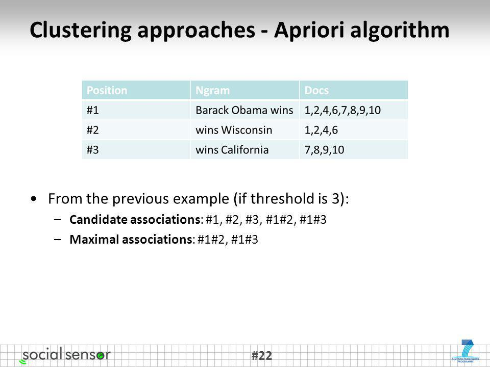 Clustering approaches - Apriori algorithm From the previous example (if threshold is 3): –Candidate associations: #1, #2, #3, #1#2, #1#3 –Maximal associations: #1#2, #1#3 #22