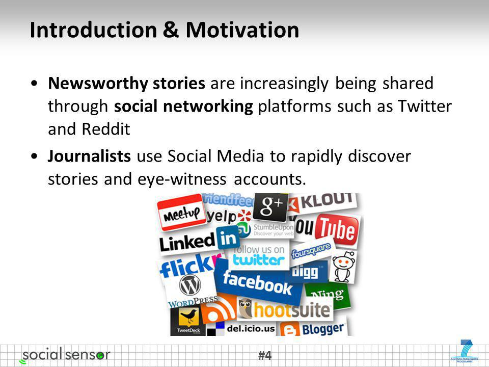 Introduction & Motivation Newsworthy stories are increasingly being shared through social networking platforms such as Twitter and Reddit Journalists use Social Media to rapidly discover stories and eye-witness accounts.