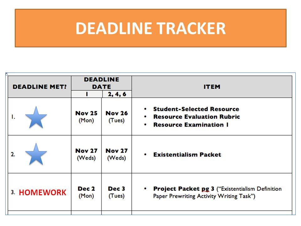 DEADLINE TRACKER HOMEWORK