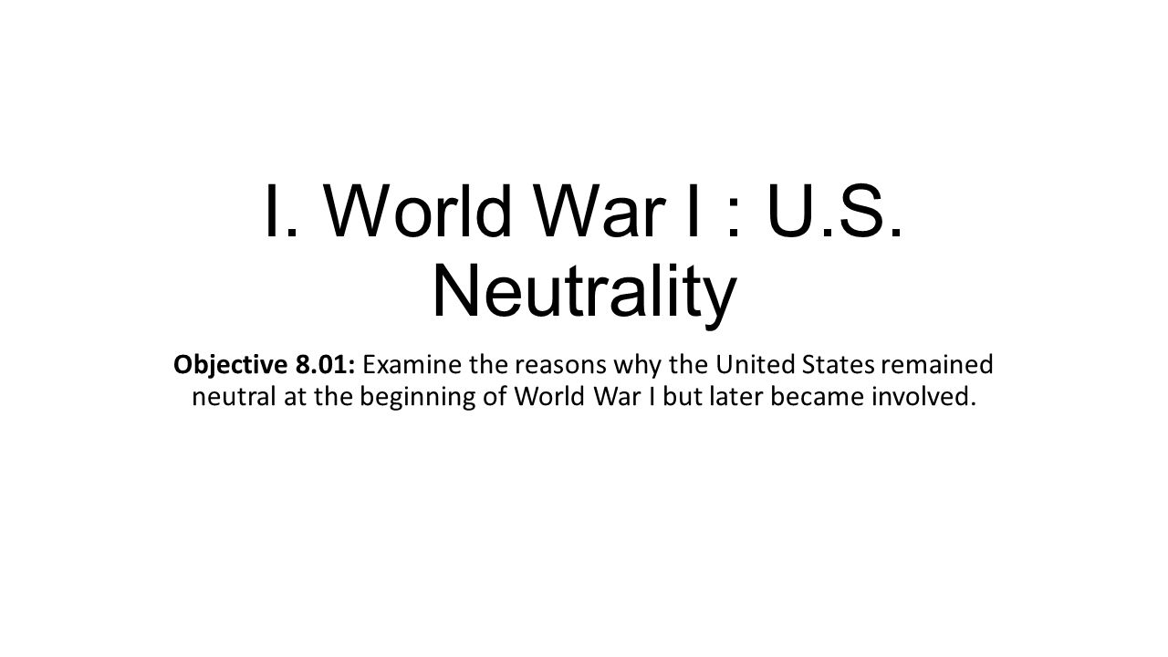 I. World War I : U.S.