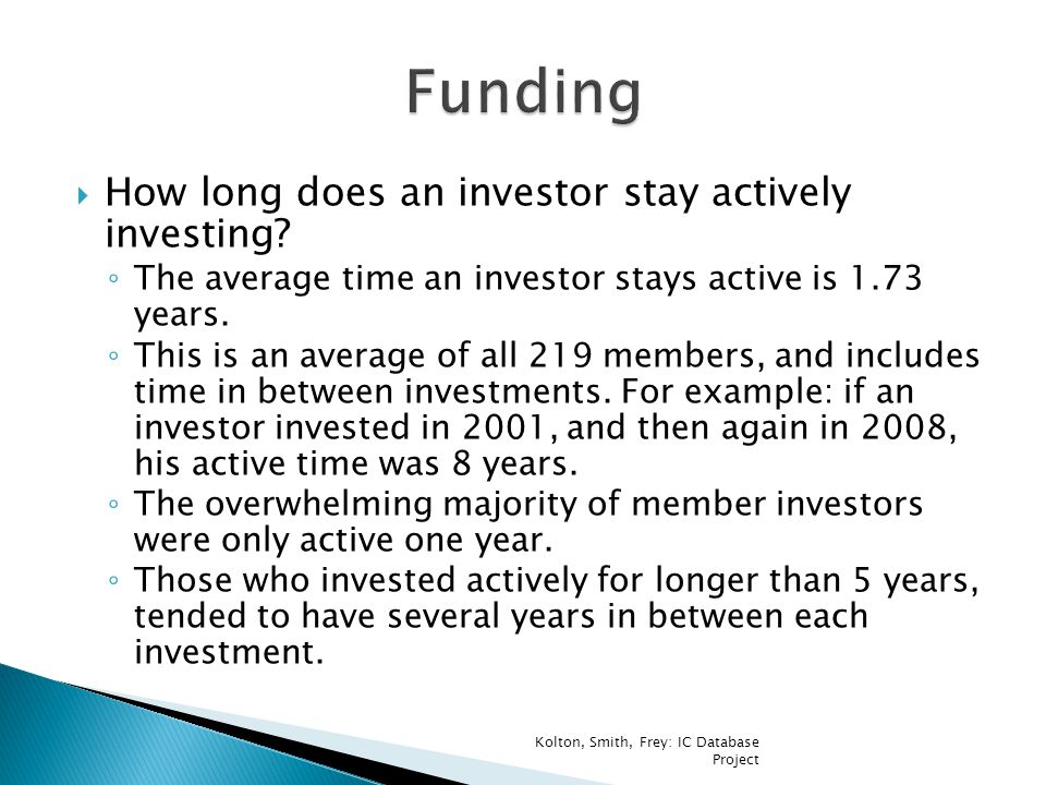  How long does an investor stay actively investing.