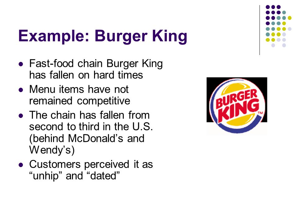 Example: Burger King Fast-food chain Burger King has fallen on hard times Menu items have not remained competitive The chain has fallen from second to third in the U.S.