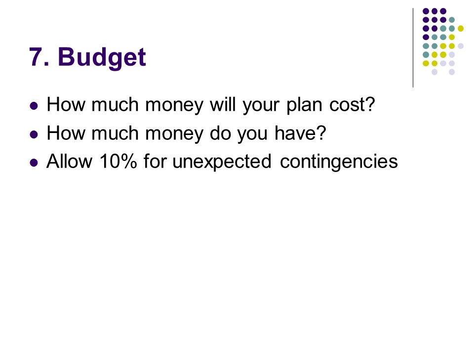 7. Budget How much money will your plan cost. How much money do you have.