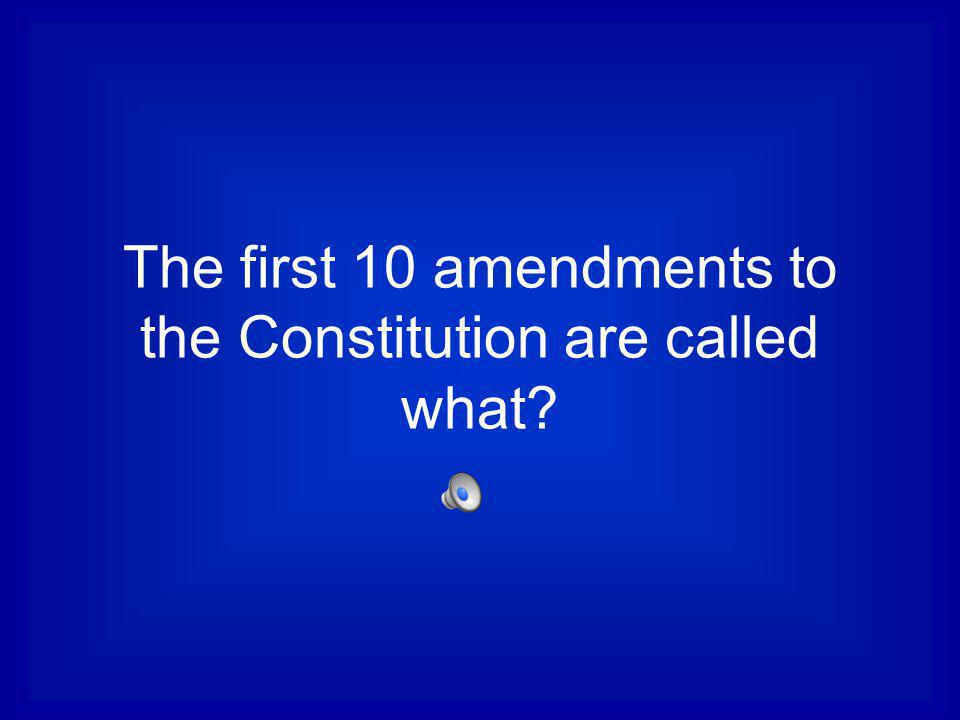 The first 10 amendments to the Constitution are called what